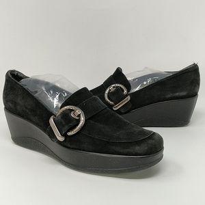 Stuart Weitzman Black Suede Wedge Loafers Size 9M